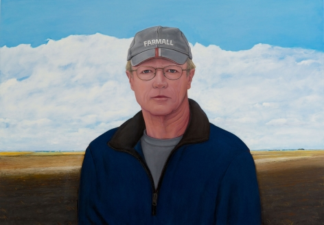 William Beckman, Self-Portrait with Farmall Cap, 2009 - 2015, oil on panel, 34 1/2 x 49 1/4 inches
