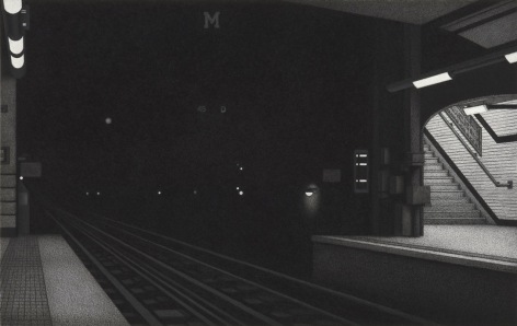 anthony mitri, 12:57 a.m., Metro, Paris (SOLD), 2011, charcoal on paper, 15 x 22 3/4 inches