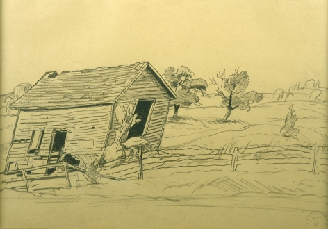 Charles Burchfield, Old House and Apple Tree, 1932, pencil on paper, 11 x 15 1/2 inches