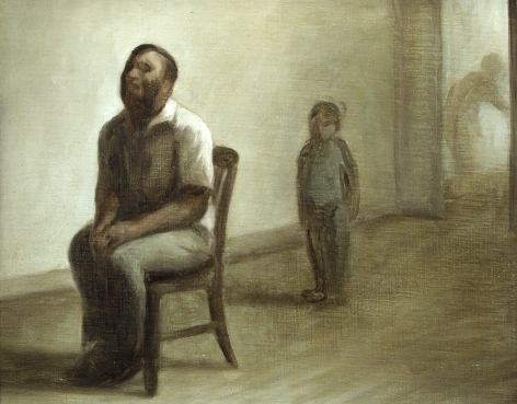 "wade schuman, Study for ""Blind Singer"", 1992, oil on linen mounted on panel, 12 3/4 x 15 3/4 inches"