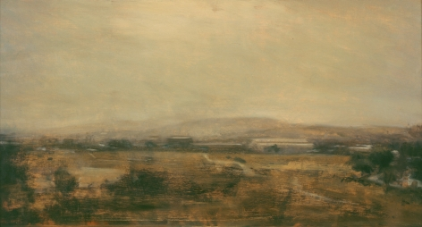 robert bauer, Study II, Landscape Near Mexico City, 1995, oil on panel, 7 x 13 1/4 inches