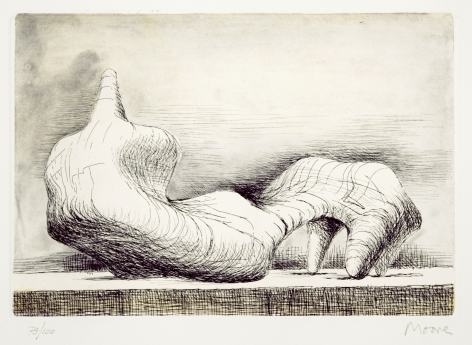 Henry Moore, Reclining Figure- Back, 1976 etching and acquatint, 6 1/2  x 9 1/2 inches image size, 25 1/2 x 18 inches paper size