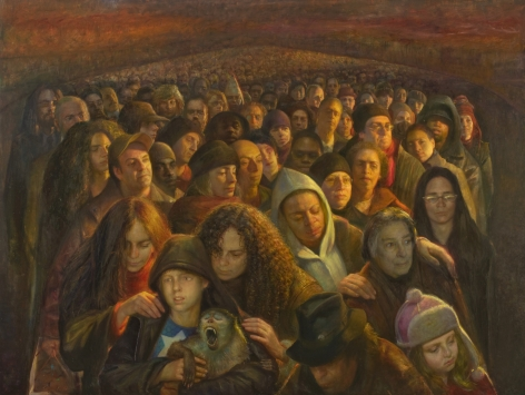 Steven Assael, Crowd #1, 2009, oil on canvas, 72 x 96 inches