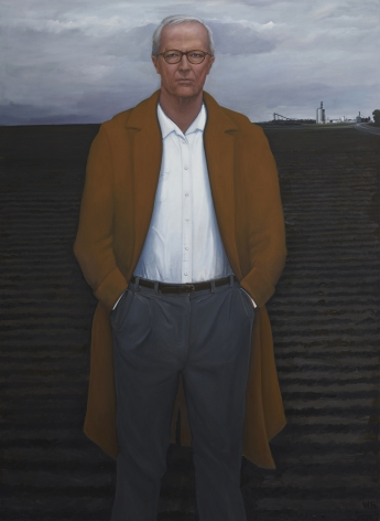 William Beckman, Overcoat with Plowed Field (Survival), 2018-19, oil on canvas, 100 x 73 inches