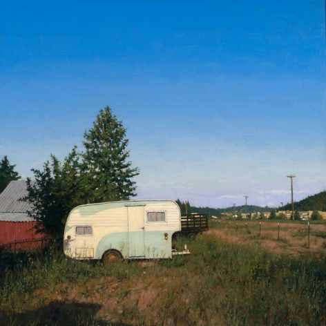 Linden Frederick, Wal-Mart (SOLD), 2007, oil on panel, 12 1/4 x 12 1/4 inches