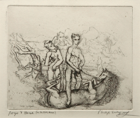 philip evergood, Boys and Horse, nd, etching on paper, 7 3/8 x 6 1/4 inches