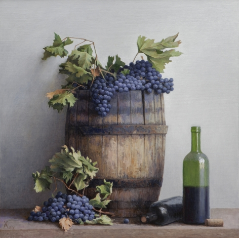 guillermo munoz vera, Wine Grapes, 2014, oil on canvas mounted on panel, 27 1/2 x 27 1/2 inches