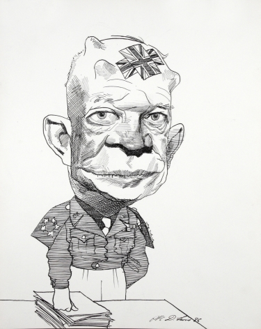 David Levine, Ike, 1986, ink on paper, 13 x 11 inches