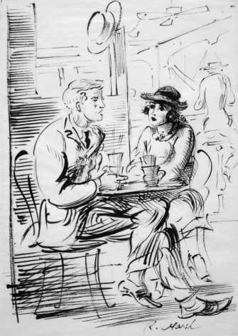 Reginald Marsh, Man and Woman Seated at a Cafe, pen & ink on paper, 10 x 8 inches