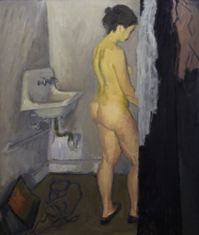 Raphael Soyer, Nude in Bathroom, oil on canvas, 38 x 32 1/8 inches