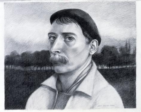 Alan Feltus, Self-Portrait, Evening Light, 2002, pencil on Strathmore paper, 12 7/8 x 15 5/8 inches