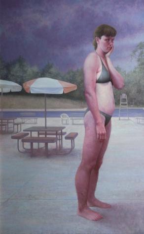 michele fenniak, Morning Swim, 2005, oil on panel, 48 x 30 inches