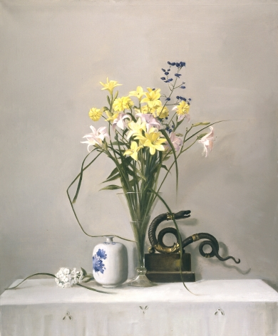 Raymond Han, Day Lilies, Aconite and Serpent (SOLD), 2004, oil on canvas, 48 x 40 inches