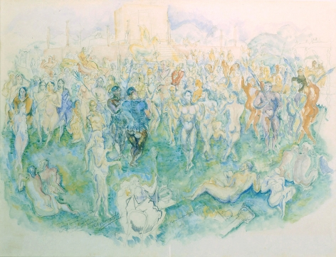 philip evergood, At Nebuchadnezzar's Court, 1927, watercolor on paper, 23 1/2 x 17 inches
