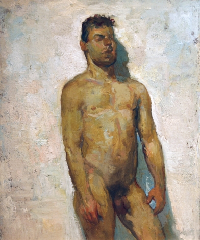 David Levine, Male Nude, nd, oil on panel, 9 3/4 x 8 1/8 inches