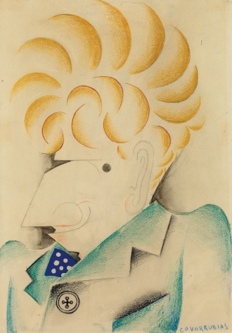 Miguel Covarrubias, Portrait of Alexander Brook, 1930, pencil, gray wash, color crayons and gouache on paper, 13 3/4 x 9 1/2 inches