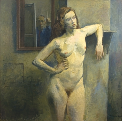 Raphael Soyer, Nude with Self Portrait, c. 1961 oil on canvas 50 x 50 inches