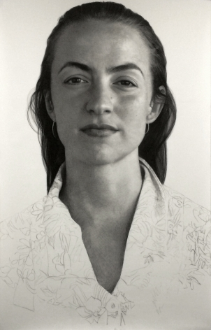 clio newton, Mira (frontal), 2018, compressed charcoal on paper, 94 x 59 1/4 inches