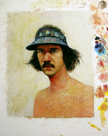 Gregory Gillespie, Self-Portrait with Blue Visor, 1979, oil on paper mounted on masonite, 31 3/8 x 25 5/8 inches