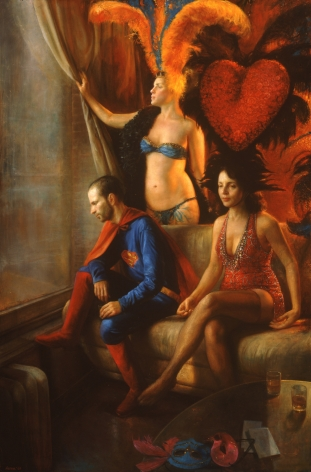 Steven Assael, Costume Party # 1, 2007, oil on canvas, 72 x 48 inches