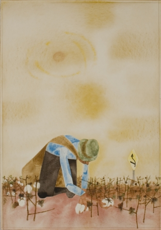 Robert Gwathmey, Picking Cotton, c. 1950, watercolor with pen and ink on wove paper, 19 3/4 x 13 5/8 inches