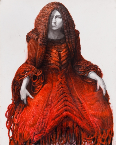steven assael, Kristen in Knit Gown (SOLD), 2012, colored crayon with graphite on paper, 14 x 11 1/2 inches