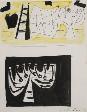"Robert Motherwell, Study for ""The Wall of the Temple"", c. 1950, ink and watercolor on paper, 14 x 11 inches"