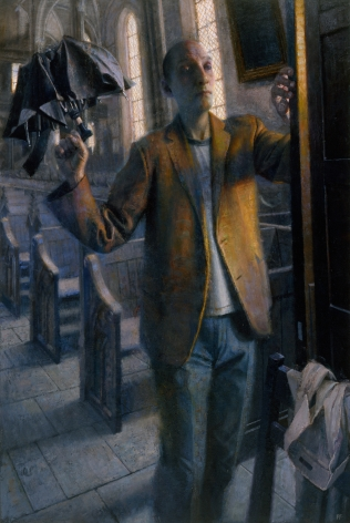 paul fenniak, Man with Collapsible Umbrella, 2012-2013, oil on canvas, 54 x 36 inches