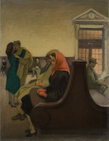 Raphael Soyer, Waiting at the Station, nd, oil on canvas, 18 x 14 inches