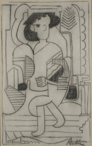 Auguste Herbin, Homme, 1928, charcoal on paper, 11 1/2 x 7 7/8 inches