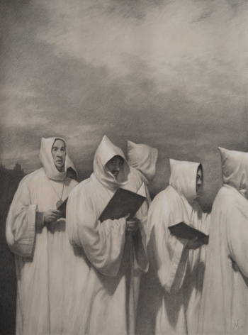 Guillermo Muñoz Vera, Friars, 2019, conte pencil and charcoal on paper, 37 1/4 x 27 3/4 inches (image size)