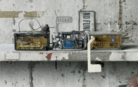 cesar galicia, New York Taxi Meters (SOLD), 2012, mixed media on board, 34 1/4 x 21 5/8 inches