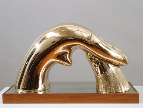 hugo robus, Woman Washing Hair, 1933, polished bronze, 8 1/4 x 14 1/2 x 5 1/2 inches, Edition of 18