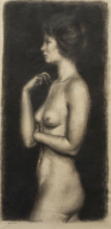 Joseph Hirsch, Nude Duchess, n.d., charcoal on paper, 16 1/8 x 9 1/8 inches
