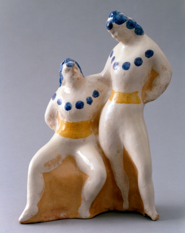 elie nadelman, Two Women (One Seated), c. 1930 - 1935, decorated and glazed terra-cotta, 10 3/4 x 7 1/4 x 4 inches