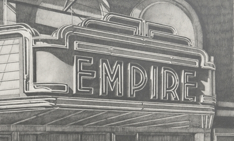 robert cottingham, Empire, 2008, graphite on paper, 17 1/4 x 28 inches