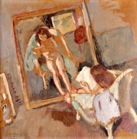 jules pasin, Model in front of Mirror, 1914, oil on board, 20 1/4 x 20 inches