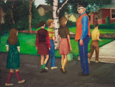 Gregory Gillespie, Back to School (SOLD), 1971, oil and magna on wood, 11 1/2 x 14 3/4 inches