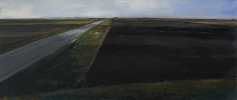 William Beckman, Montana Plowed Field #2, 2020, oil on panel, 9 3/4 x 22 3/4 inches