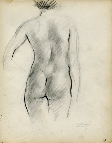 Charles White, Standing Nude from Rear, c. 1935-38 pencil on paper 9 7/8 x 7 3/4 inches
