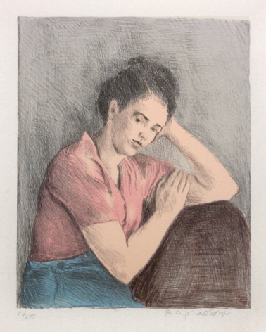 Raphael Soyer, Meditation, n.d., color lithograph, Edition of 275, 14 x 11 inches