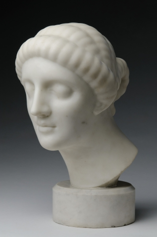 Elie Nadelman, Female Head, 1908-09, white marble, 14 1/4 x 9 1/2 x 12 1/4 inches, Round Base: 3 1/4 inches high