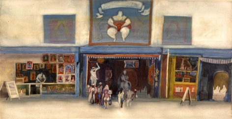 david levine, The Barker, 2003, watercolor on paper, 12 x 21 inches, Private collection, Chicago, IL