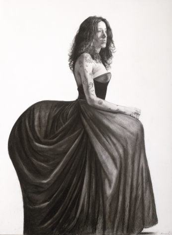 Steven Assael, Lilliana with Fancy Dress, 2007, graphite on paper, 19 7/8 x 14 3/4 inches