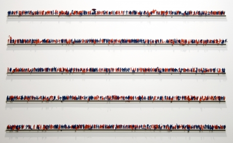 Guy Limone, In 1998, in the US, there were 442 internet addresses for ea. 1000 people, 1999, 1000 hand-painted plastic figures on 5 aluminum rails, 23 x 39 1/2 inches