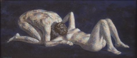 Joseph Hirsch, Kiss, 1971, polymer on canvas, 8 x 18 inches