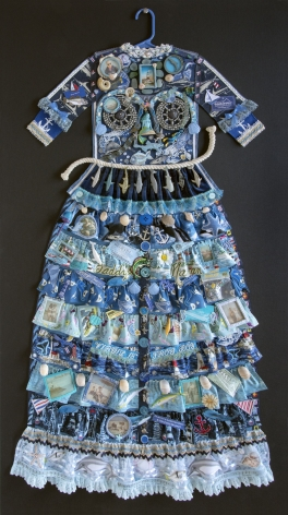 Jane Lund, Montauk Dress, 2017, assemblage of collected objects, 58 1/2 x 32 1/2 inches