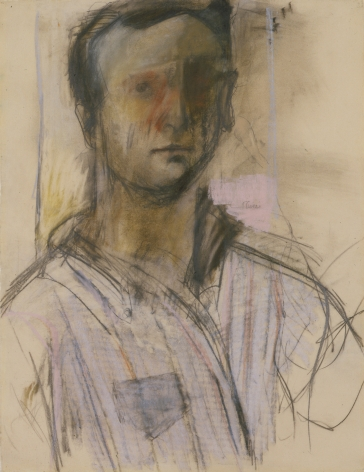 Larry Rivers, Self Portrait, 1953, charcoal, pastel and graphite on paper, 24 3/4 x 19 inches