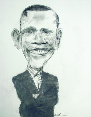 David Levine, Senator Barack Obama (SOLD), 2006, graphite on paper, 13 3/4 x 11 inches