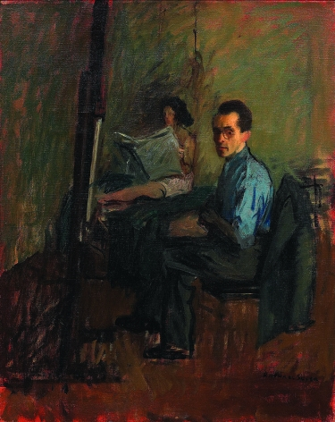 Raphael Soyer, Self-Portrait with Model, c. 1945, oil on canvas, 20 x 16 inches